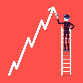 Businessman on ladder drawing positive dynamics climbing arrow. successful manager showing sale progress, optimistic right direction, business profit growth.