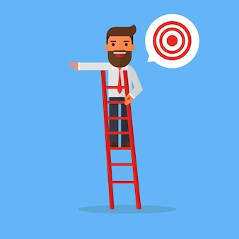 Businessman on a ladder pointing at a target.