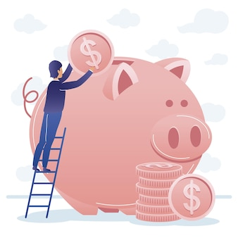 Businessman on ladder with coins and piggy