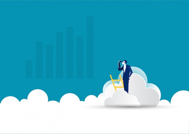 Businessman on ladder with telescope on cloud.leadership, opportunity, vector