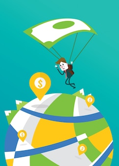 Businessman landing to the big money pin with banknote parachute.