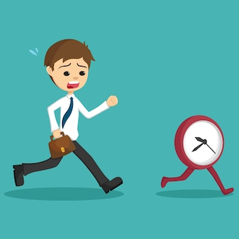 Businessman late go to work and running with clock or time