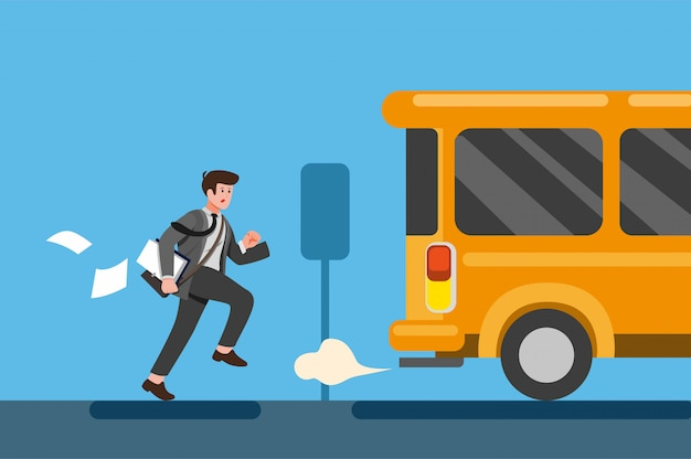 Businessman late for work or a meeting. employee is running after bus. cartoon flat illustration