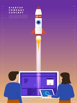 ビジネスマンは空にロケットを打ち上げ、従業員は宇宙船の始動を行います。ビジネスのスタートアップのコンセプト。イラスト。