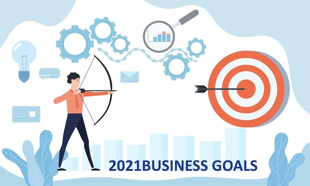 Businessman leader archer aiming shooting at a target 2021 year.