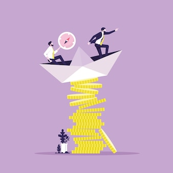 Businessman leader command unstable paper boat on stack of money coins