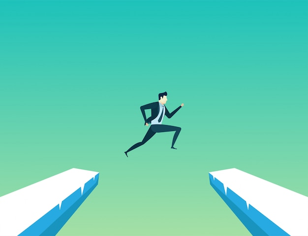Businessman leader jump