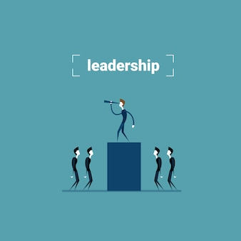 Businessman leader standing on chart bar looking through binocular on successful future growth development concept