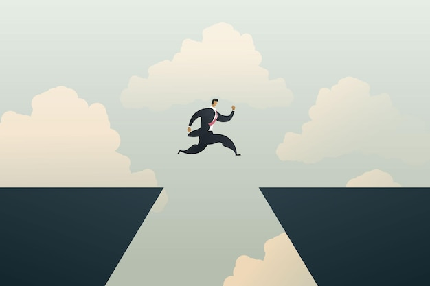 Businessman leaders jump over cliff gaps as business challenges of risk
