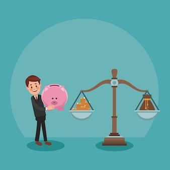 Businessman leading balance with money