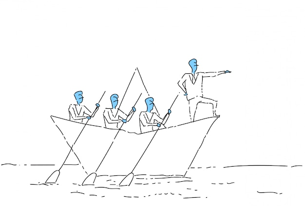 Businessman leading business people team swim in paper boat teamwork leadership concept