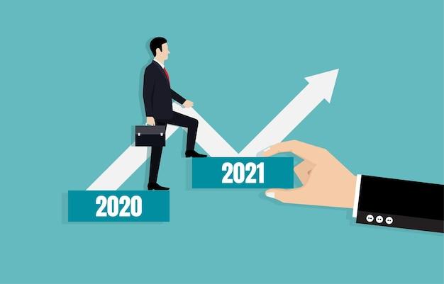 사업가는 2021 년 비즈니스 목표를 향한 길을 선도합니다. 비즈니스 전략 계획 및 목표 달성.