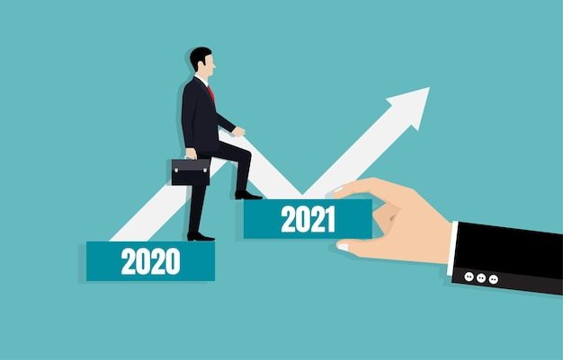 Businessman leads the way towards business goals in 2021. business strategy plan and goal achievement.