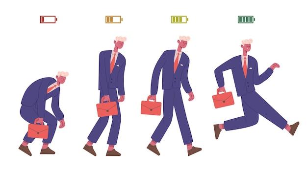 사업가 생활 에너지 수준. 피곤하고 활기찬 남성 비즈니스 캐릭터, 절반 및 낮은 배터리 에너지 수준 벡터 일러스트 레이 션. 회사원 생활 에너지