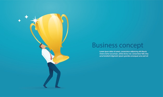Businessman lift the big gold trophy up background template