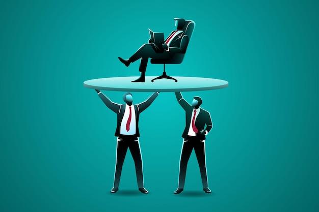 Бизнесмен поднимает своего босса, который сидит на стуле и читает книгу