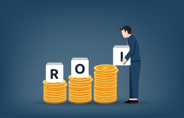 Businessman lifting block box text roi on the pile of coins money.