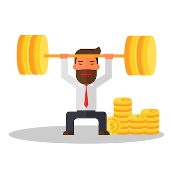 Businessman lifting coins
