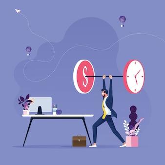 사업가 드는 시간과 돈을 무게-시간은 돈 개념