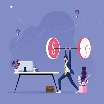 Businessman lifting time and money weights-time is money concept