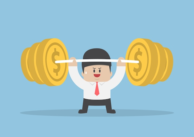 Businessman lifting up barbell with coin weight