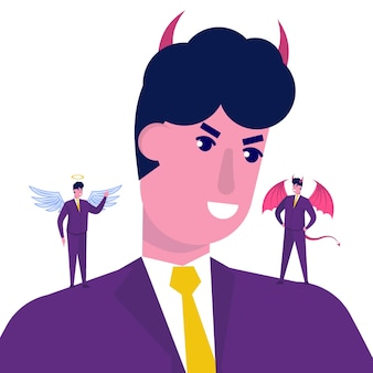Бизнесмен, слушающий дьявола и ангела