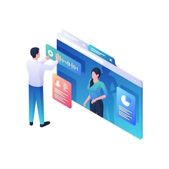 사업가 통계 infographics 아이소 메트릭 그림에 웹 강의를 수신합니다. 남성 캐릭터는 여성 트레이너 마케팅 개념으로 창의적인 원형 차트에 대한 온라인 비디오를보고 있습니다.