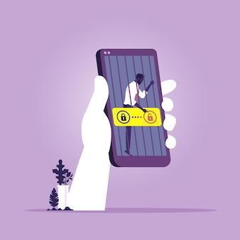 ビジネスマンは刑務所のバーの後ろにスマートフォンでロックされています。スマートフォン依存症