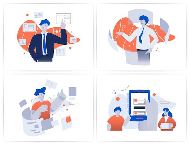 ビジネスマンが未来的なwebブラウザーホログラムインターフェイスセットにログインします。技術概念図