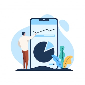 Businessman look business data analysis with standing phone