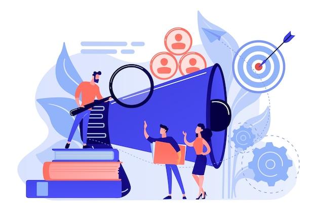 Sguardo dell'uomo d'affari con la lente d'ingrandimento al gruppo target. segmentazione del mercato e promozioni, mercato di riferimento e concetto di cliente su priorità bassa bianca.