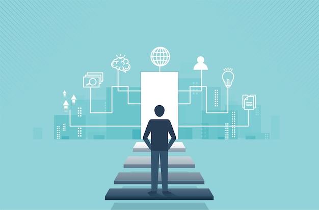 경력 성공의 현대 디지털 개념의 문으로 이어지는 계단을 보고 있는 사업가