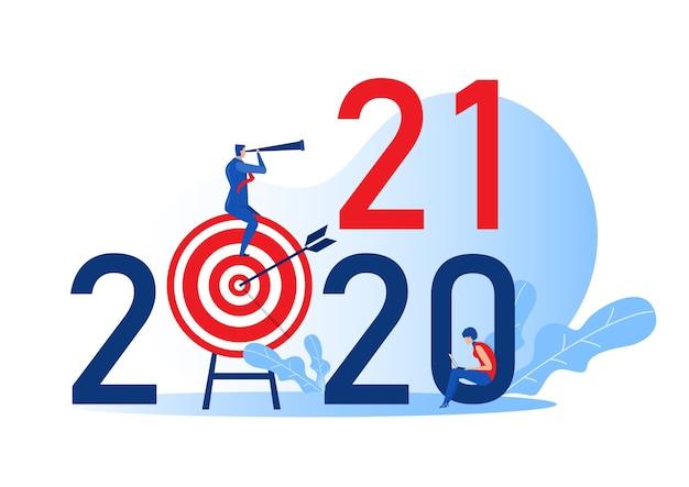 Businessman looking binoculars on target board for plan on  years leadership concept flat cartoon character