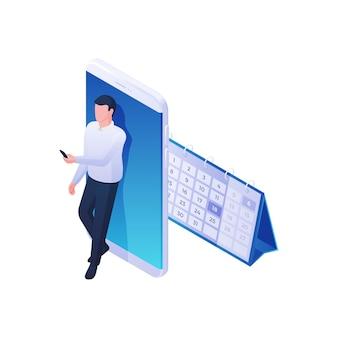 モバイルアプリケーションの等角図でカレンダーを探しているビジネスマン。男性キャラクターは、プロジェクトの締め切りまでの日数をカウントして作業スケジュールを計画します。現代のマーケティングビジネスタスクの概念