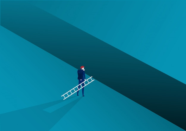 Businessman looking carry ladder cross to goal success with challenge. illustration