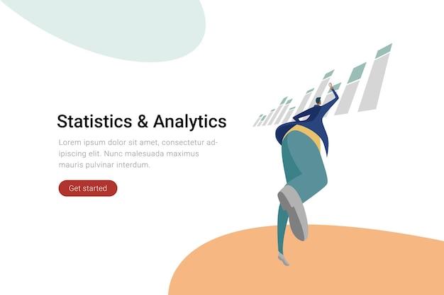 Businessman looking on charts flat illustration statistics and data analytics concept.