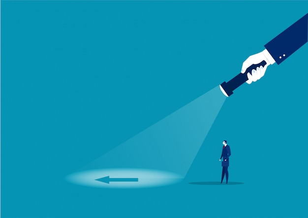 Businessman looking direct flash with big hand holds a flashlight to vision direction. search direction.  illustration