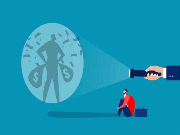 사업가가 돈 비 성공 아래 자신의 그림자를 쏘기 위한 목표물에 대한 지침을 찾고 있습니다.