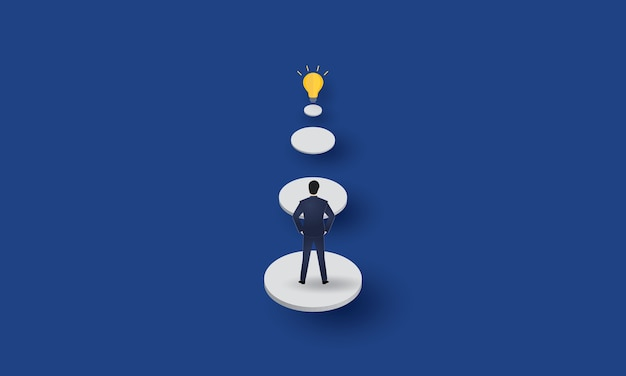Businessman looking at light bulb, creativity, business concept