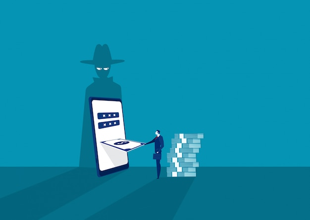 パスワードとログイン電話を盗むシャドウマスクとラップトップのスマートフォンを探しているビジネスマン