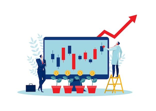 Бизнесмен ищет красную стрелку растет вверх по инвестиционной концепции.