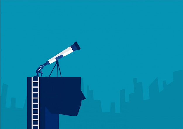 Businessman  looking sky on the head with big telescope for discovery new investment concept vector