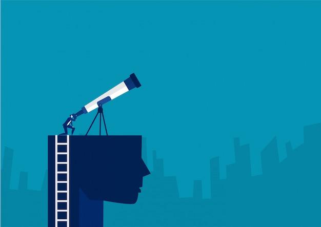 Бизнесмен смотрит небо на голову с большим телескопом для открытия нового вектора инвестиционной концепции