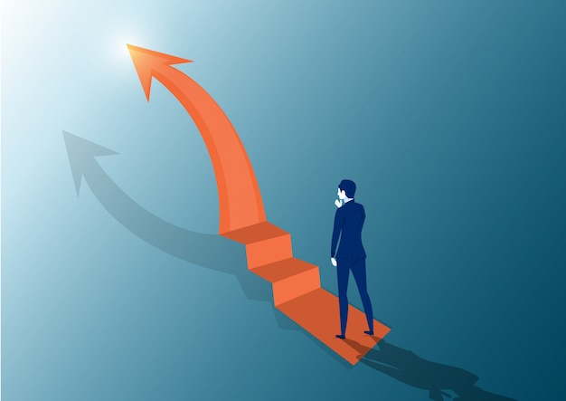 Businessman looking the stairs. on top at the peak of success. looks at the top arrow. vector flat design. business challenge search way to success goal.