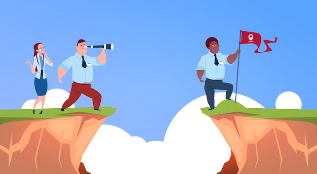 Businessman looking straight with binocular on business man with geolocation flag over abyss