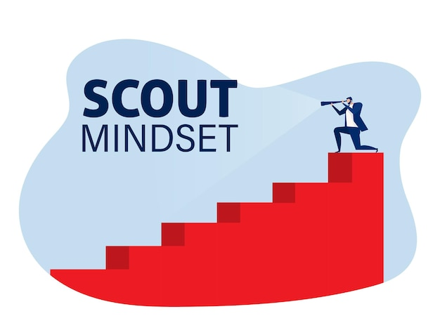 Businessman looking through a telescope on stair step scout mindset concept . vector illustration