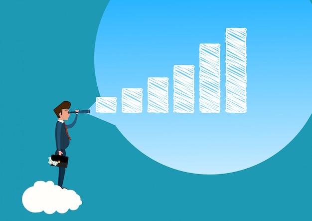 Бизнесмен смотрит в телескоп на график роста фондового рынка в будущее