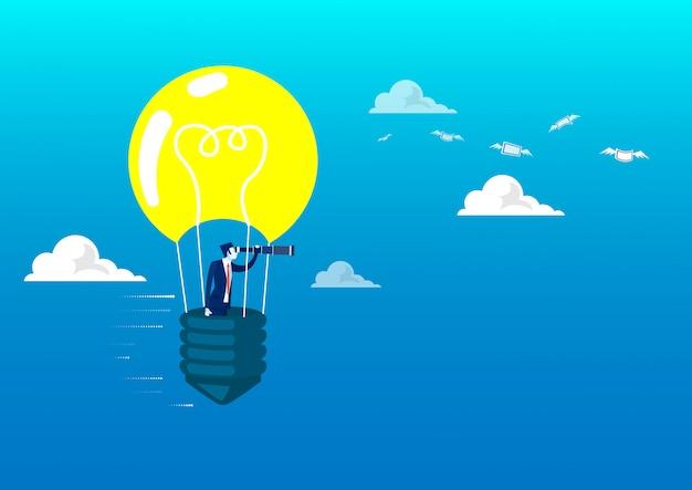 Бизнесмен смотря через телескоп на электрической лампочке воздушного шара для иллюстратора концепции вклада будущего.