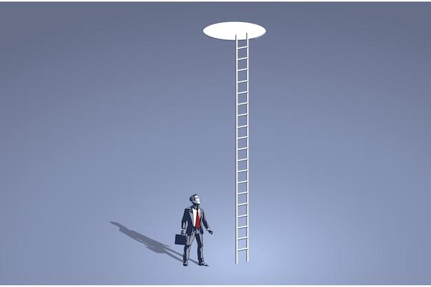 Бизнесмен, глядя на дыру с длинной лестницей у небесно-голубого воротника