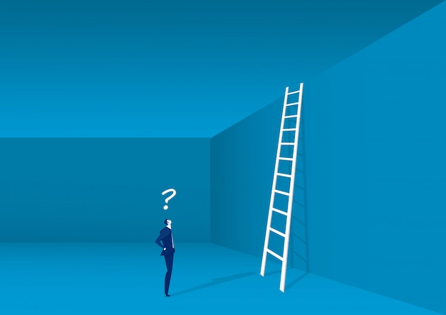 Businessman looking up at a ladder solution